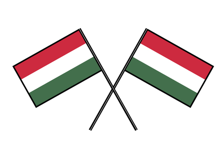Flag of Hungary. Stylization of national banner. Simple vector illustration with two flags