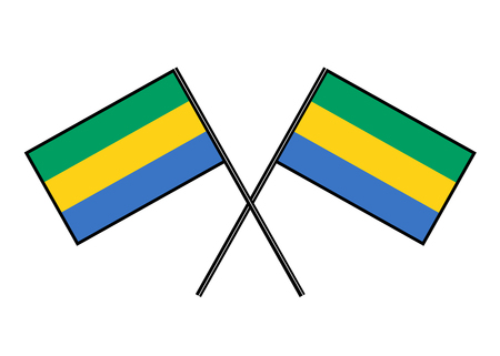 Flag of Gabon. Stylization of national banner. Simple vector illustration with two flags.
