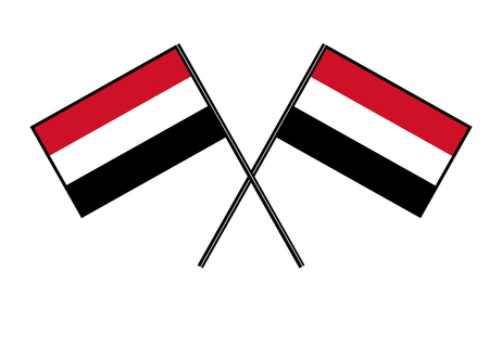 Flag of Yemen. Stylization of national banner. Simple vector illustration with two flags.
