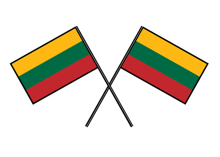 Flag of Lithuania. Stylization of national banner. Simple vector illustration with two flags.