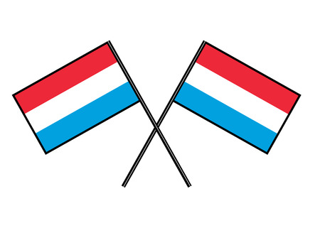 Flag of Luxembourg. Stylization of national banner. Simple vector illustration with two flags.