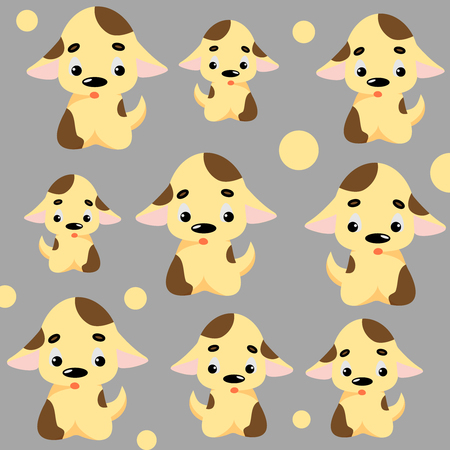 Cute dog pattern with puppies and circles childish seamless vector background
