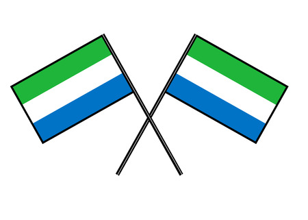 Flag of Sierra Leone. Stylization of national banner. Simple vector illustration with two flags. Ilustração