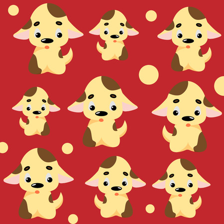 Cute dog pattern with puppies and circles. Childish seamless vector background for fabric, textile, decoration