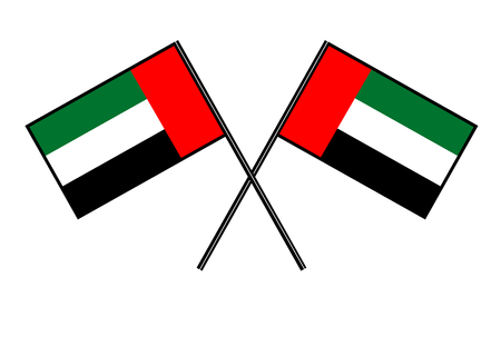 Flag of the United Arab Emirates. Stylization of national banner. Simple vector illustration with two flags.