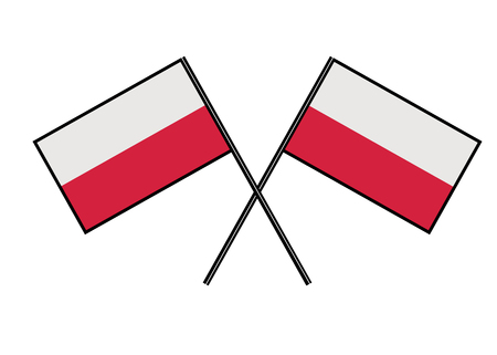 Flag of Poland. Stylization of national banner. Simple vector illustration with two flags Ilustração