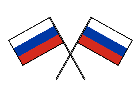 Flag of Russia. Stylization of national banner. Simple vector illustration with two flags.