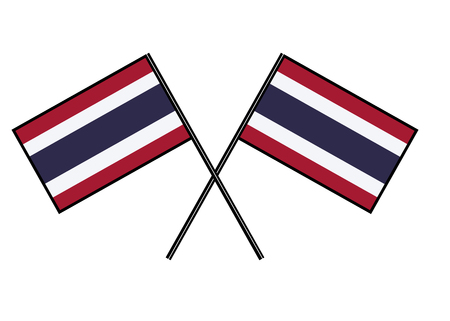 Flag of Thailand. Stylization of national banner. Simple vector illustration with two flags. Ilustração