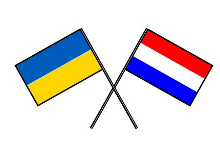 Flag of Ukraine. Stylization of national banner. Simple vector illustration with two flags.