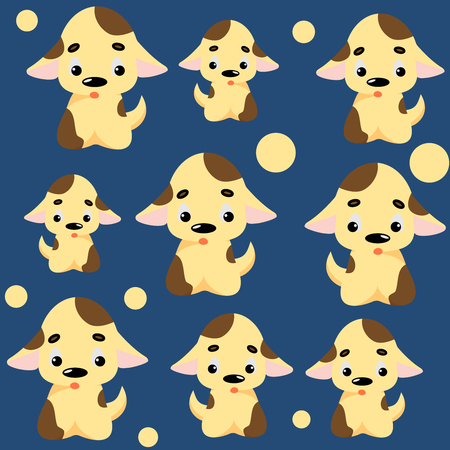 Cute dog pattern with puppies and circles. Childish seamless vector background for fabric, textile, decoration. Ilustração