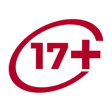 Red drop icon circle with age limit 17 seventeen Vektoros illusztráció
