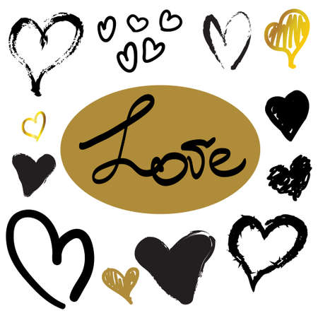 Hand drawn hearts black and gold lettering word love 矢量图像