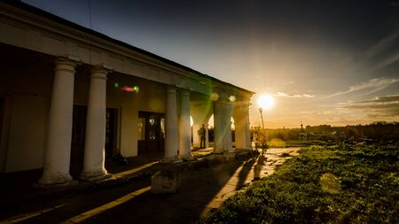 colonnade: Beautiful sunset at the Colonnade Stock Photo