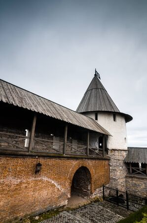 tatarstan: Brick wall covered with roof and tower in Kazan Kremlin, Kazan, Russian Federation.