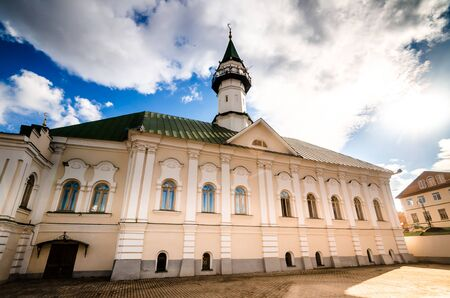 From below shot of beautiful mosque Al-Mardjani placed in city of Kazan. Stock Photo