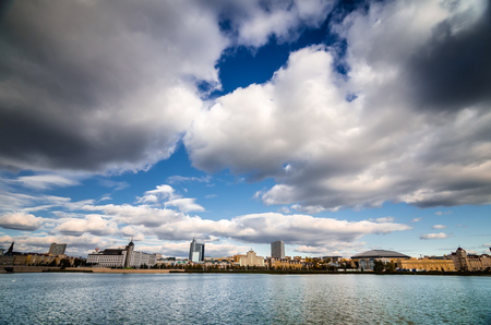 tatarstan: White clouds above cityscape of Kazan city and Bottom boar lake. Stock Photo