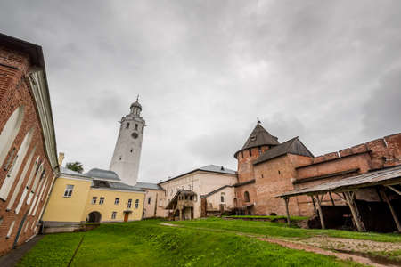 View of ancient constructions on territory of monastery in moody day, Veliki Novgorod, Russia. Stock Photo