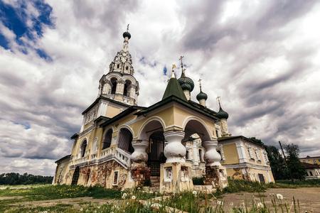 Church of Nativity of St John the Baptist with crumbling walls in Uglich, Yaroslavl Region.