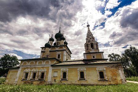 Church of Nativity of St john the Baptist on cloudy day in Uglich, Yaroslavl Region.