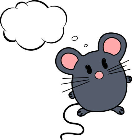 cartoon mouse: Thinking mouse