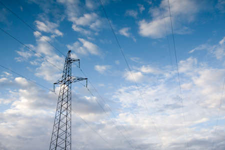 electric power station: Electric power station lines, on the blue sky backing