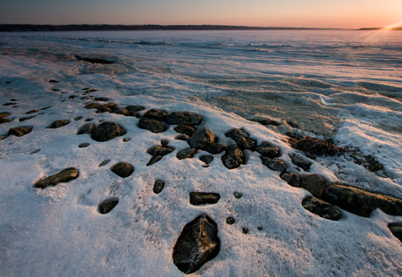 noiseless: The river ice in the sunset light
