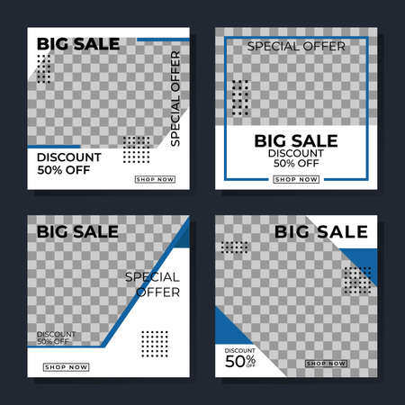 Simple social media post template with blue style. Banner big sale edition, Good for promoting products or brand. Banners vector Ilustração