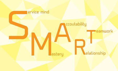 mastery: Orange smart word with geometric background. Stock Photo