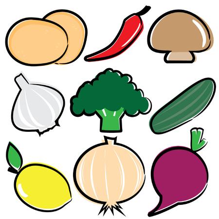 reg: Veggie icon set Illustration