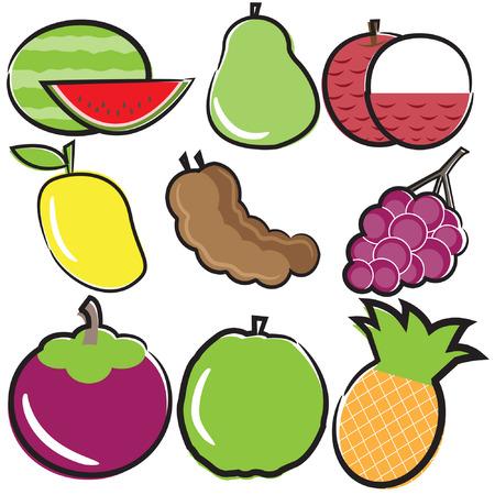 red grape: fruit vector set