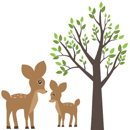 mother and baby deer: tree and deer