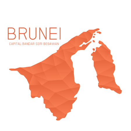 map of brunei: Brunei map geometric background Illustration