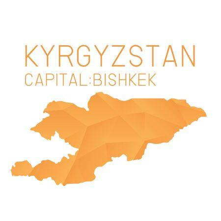 kyrgyzstan: Kirguistán mapa de fondo geométrica