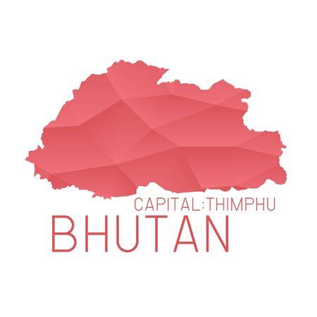 bhutan: Bhutan map geometric background