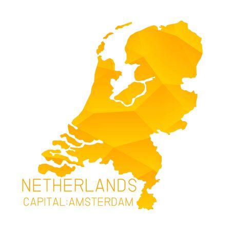netherlands map: Netherlands map geometric background