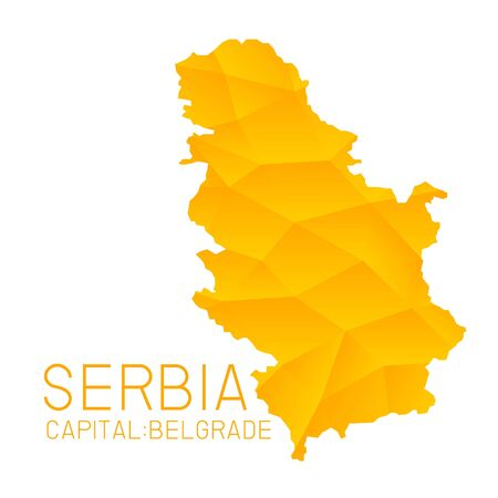 serbia: Serbia map geometric background