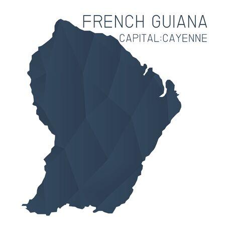 french guiana: French guiana map geometric texture Illustration