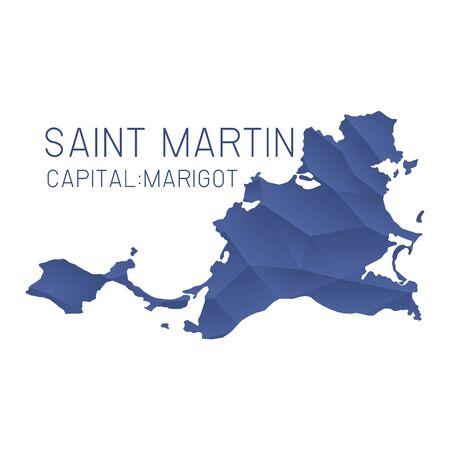 saint martin: Saint Martin map geometric texture background Illustration