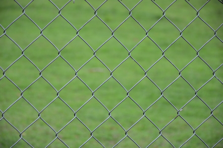 chain link fence, selective focus. Stock Photo