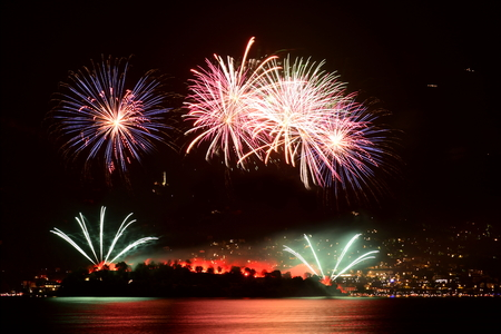 Fireworks at Comacina Island in Como lake for st. johns day Stok Fotoğraf