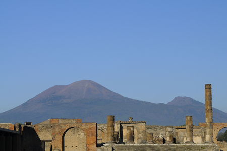 The archeological site of Pompeii with vesuvius volcano in the background. Naples, Italy Stock Photo