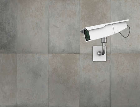 close circuit camera: CCTV camera on a concrete wall. High quality 3d illustration.