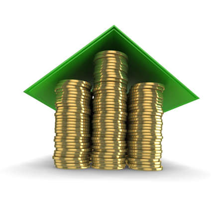 gold money: High quality illustration which could be used to represent mortgages, property, or finance in general.