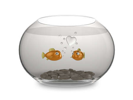 3d illustration of a pair of cartoon goldfish in love, blowing heart shaped bubbles. illustration