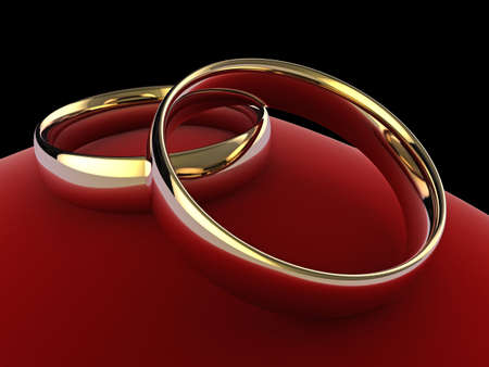 High quality close up illustration of a pair of wedding rings on a red velvet cushion. illustration