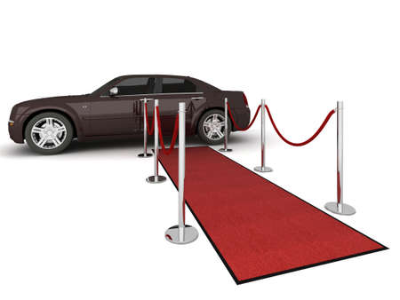 Illustration of a VIP red carpet leading with waiting limousine. Isolated on white. Please see my portfolio for other views.