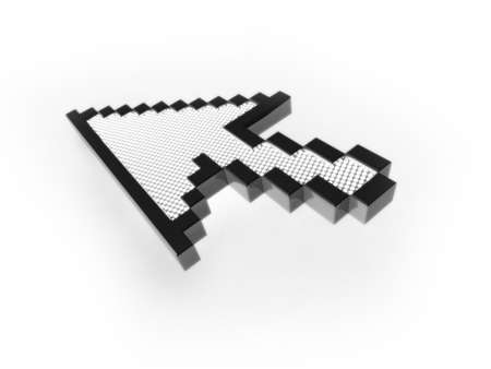 3D mouse cursor illustration. Computer generated rendering of an arrow mouse cursor. The image is set on a white background, with a subtle shadow below the cursor. illustration