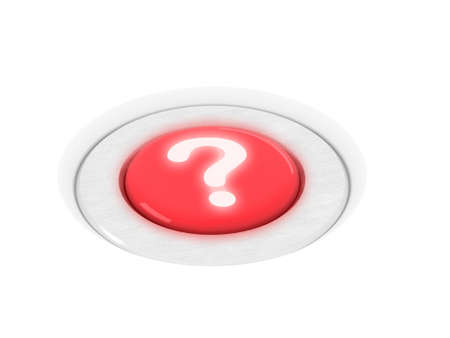 Shiny red question mark button. Conceptual 3D illustration to represent help or customer service etc.