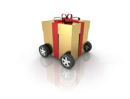 Gift box on wheels. Computer generated image which could be used to represent online shopping, home delivery etc. photo
