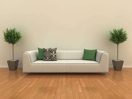 Illustration of a sofa on a shiny wooden floor with a plant either side. illustration